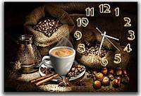 Красивые коричневые часы на стену на кухню  Кофейная нотка 30х45 см