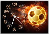 Креативные черные часы картина на стену в детскую комнату Футбольный мяч 30х45 см