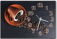 Креативные серые часы картина на стену в кухню Кофейный час 30х45 см