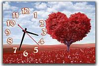 Креативные красные часы картина на стену в спальню Дерево любви 30х45 см