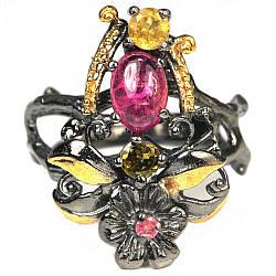 Серебряное кольцо с разноцветным турмалином, 2366КЦТ