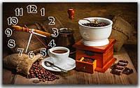 Декоративные интерьерные коричневые часы на стену для кухни  Кофе 30х50 см
