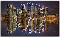 Декоративные интерьерные фиолетовые часы на стену для гостиной  Ночной город 30х50 см