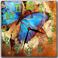 Коричневые настенные часы на кухню  Синяя бабочка, 30х30 см