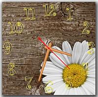 Коричневые настенные часы на кухню  Милая ромашка, 30х30 см