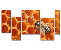 Необычная коричневая модульная картина с часами 5 частей, для гостиной  Пчела, 91х50 см