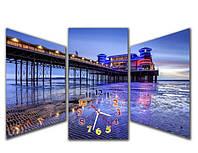 Необычная синяя модульная картина с часами 3 модуля, для гостиной  Мост М86, 90х57 см