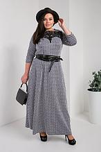 Красивое трикотажное расклешенное платье в клетку увеличенных размеров  50-56
