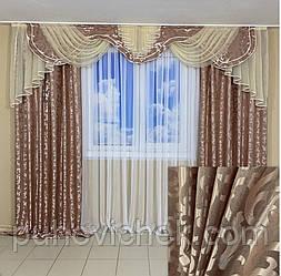 Комплект шторы с ламбрекеном для зала
