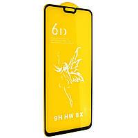 Стекло 6D Honor 8 X черное - защитное, premium