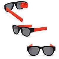 Солнцезащитные складные очки с гибкими дужками, спортивные, браслет на руку, унисекс, оранжевые