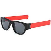 Солнцезащитные складные очки с гибкими дужками, спортивные, браслет на руку, унисекс, красные