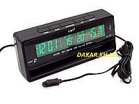 Автомобильные часы термометр вольтметр VST 7010V зелёная подсветка