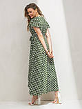 Длинное платье на запах в гороховый принт ЛЕТО, фото 4