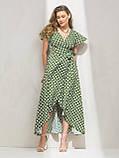 Длинное платье на запах в гороховый принт ЛЕТО, фото 3
