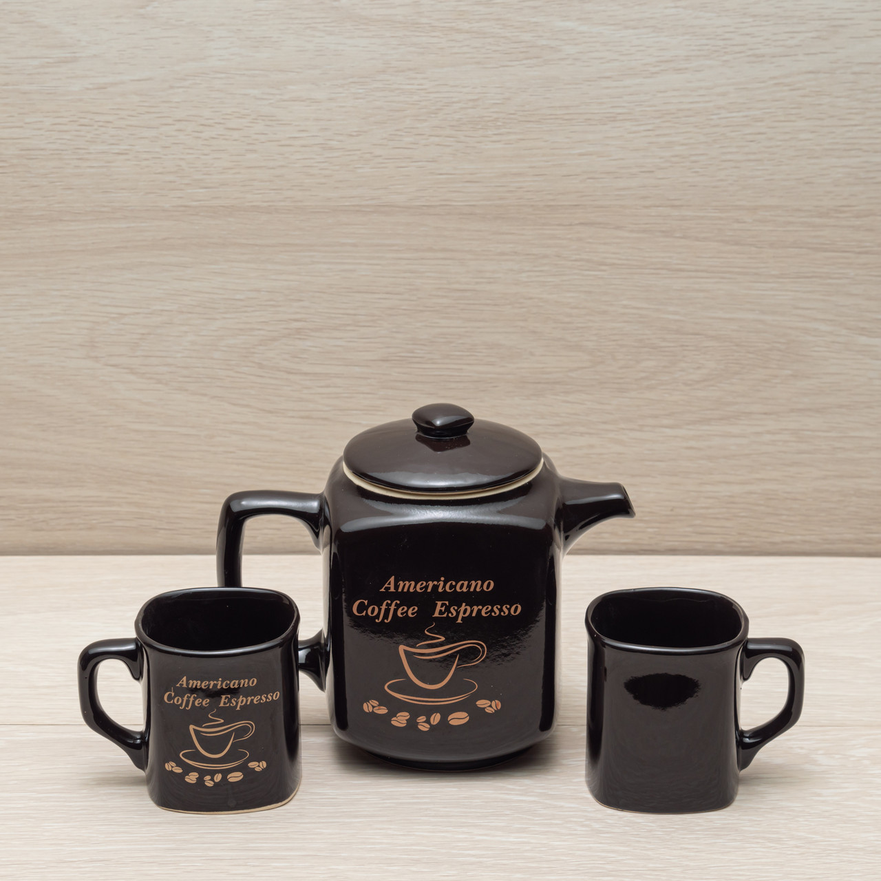 """Кофейный набор """"Американо"""" чёрный, 3 предмета (чайник 0,9л + 2 чашки по 0,2л)"""