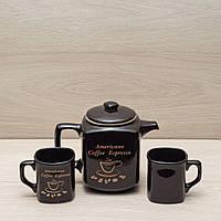 """Кофейный набор """"Американо"""" чёрный, 3 предмета (чайник 0,9л + 2 чашки по 0,2л), фото 1"""