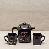 """Кавовий набір """"Американо"""" чорний, 3 предмета (чайник 0,9 л + 2 чашки по 0,2 л)"""