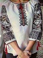 """Вишита сорочка хрестиком на білому льоні  """"Дружина хлібороба"""", фото 1"""