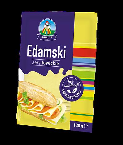 Сир нарізаний LOWICZ Ser w plastrach Edamski 130 г, фото 2