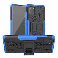 Чехол Armored для Samsung Galaxy Note 10 Lite (N770) противоударный бампер с подставкой синий, фото 1