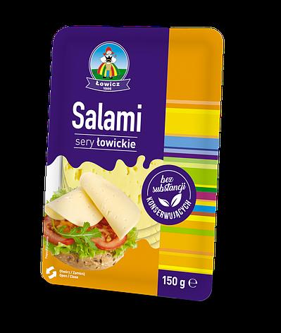 Сир нарізаний LOWICZ Ser w plastrach Salami 150 г , фото 2