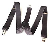 Подтяжки для брюк ширина 3,5 см серые