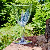 Бокалы для вина пластиковые 6 шт/уп 160 мл прозрачные с прозрачной подставкой 12.5х7 см, Украина