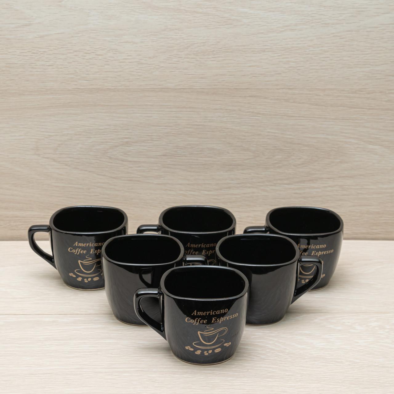 """Набір кавових чашок """"Квадрат-2"""" чорна 0,3 л деколь"""