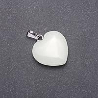 "Кулон зеленое свечение ""Сердце"" из натурального камня Оникс 28х19х19мм (+-)"