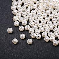 """Бусины """"жемчужные"""" (пластик) белые d-8мм 0,5кг +- 2000шт"""