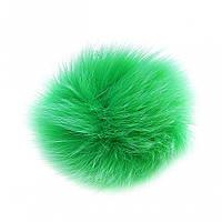 Брелок Бубон нат. мех на резинке зеленый