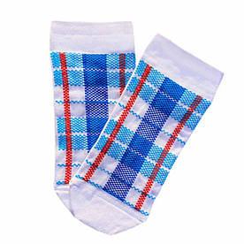 """Короткие носки из высококачественного хлопка с оригинальным принтом """"Клітчаста сумка"""""""