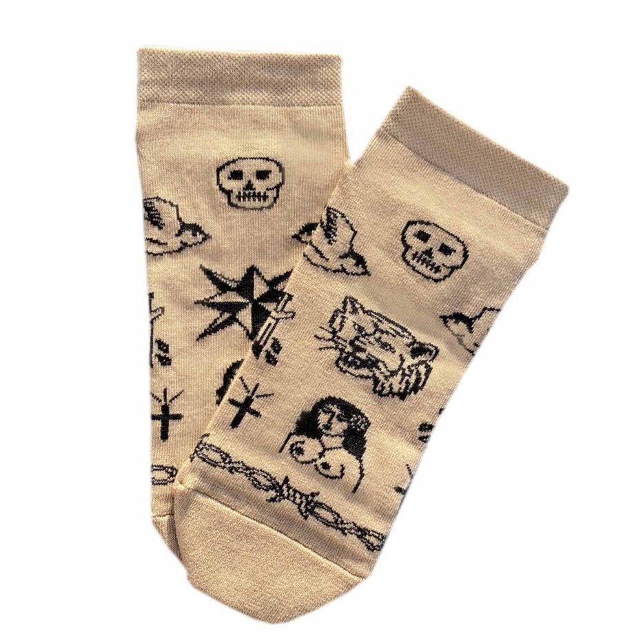 """Короткие носки из высококачественного хлопка с оригинальным принтом """"Тату"""""""