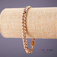 Браслет Xuping плетение Панцирное L-21см s-7мм цвет золото