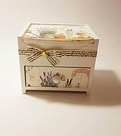 Шкатулка для косметики,украшений и любимых мелочей в стиле прованс деревянная с ящичками Лаванда 110Х950Х950