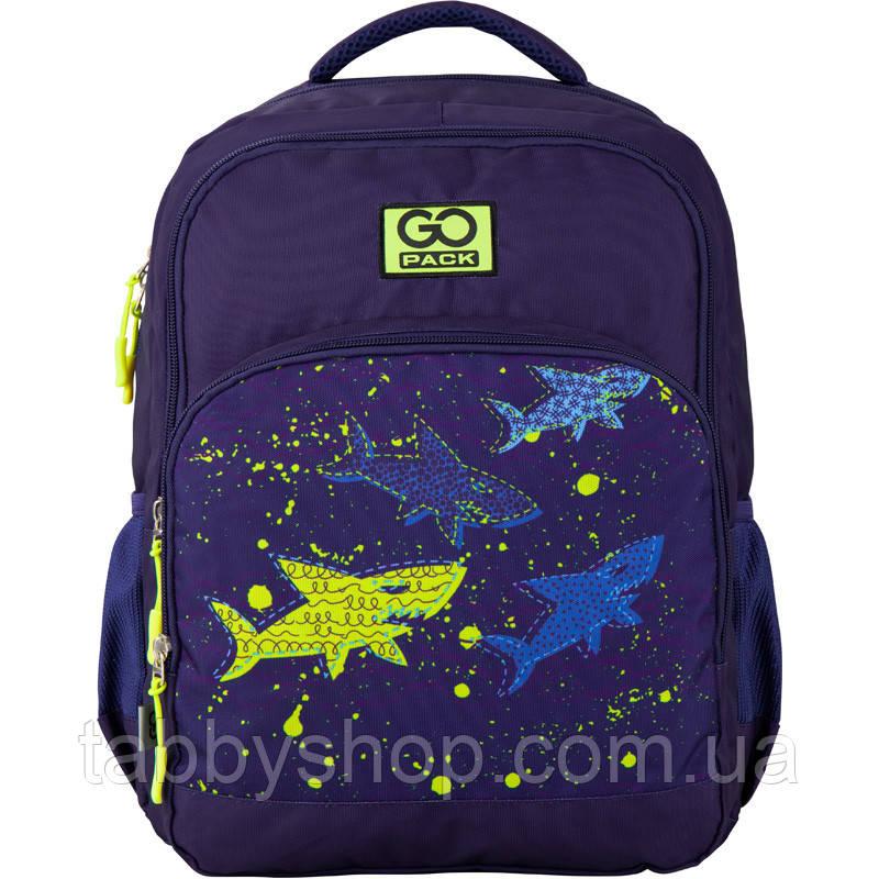 Рюкзак школьный для мальчика GoPack синий с акулами 113M-6