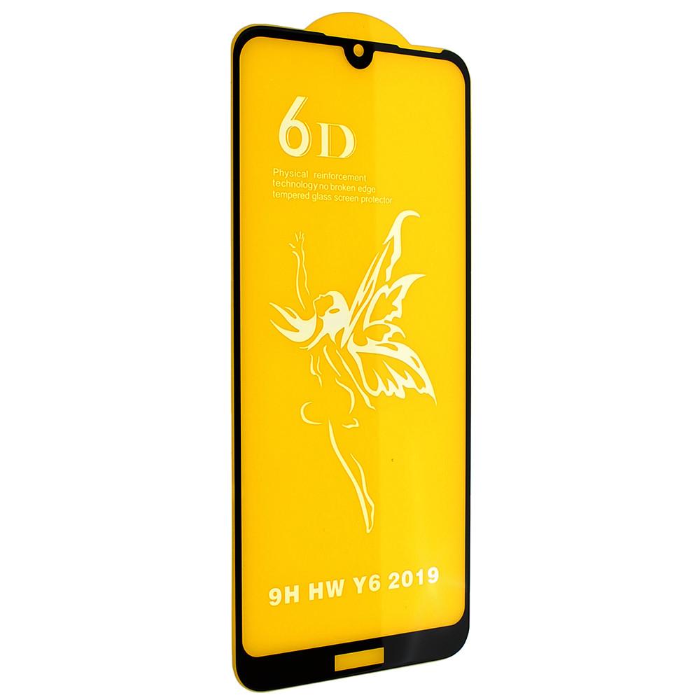 Стекло 6D Huawei Y 6 2019 черное- защитное, premium