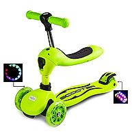 Самокат-трансформер для детей,превращается из каталки в самокат, наличие сиденья, колеса светятся.