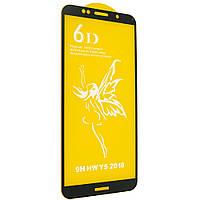 Стекло 6D Huawei Y 5 Prime 2018 черное- защитное, premium