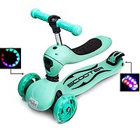 Самокат-трансформер для детей, превращается из каталки в самокат, наличие сиденья, колеса светятся.