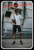 Костюм мужской Nike шорты черные , футболка белая  + барсетка+кепка в подарок