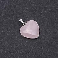 Кулон Сердце натуральный камень Розовый кварц 19х19х26мм