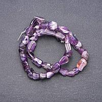Бусины натуральный камень Аметист галтовка d-5х11мм нитка L-38см