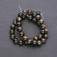 Бусины из натурального камня Соколиный глаз гладкий шарик d-10мм нитка L-38см