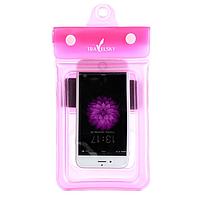 Чохол водонепроникний для мобільних телефонів TRAVELSKY з ремінцем 20.5*10см Рожевий (3482)