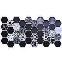 Стеновые декоративные панели ПВХ Грейс (Grace) - граненый шестигранник ОСЕННИЙ ГЕРБАРИЙ (973x492) мм