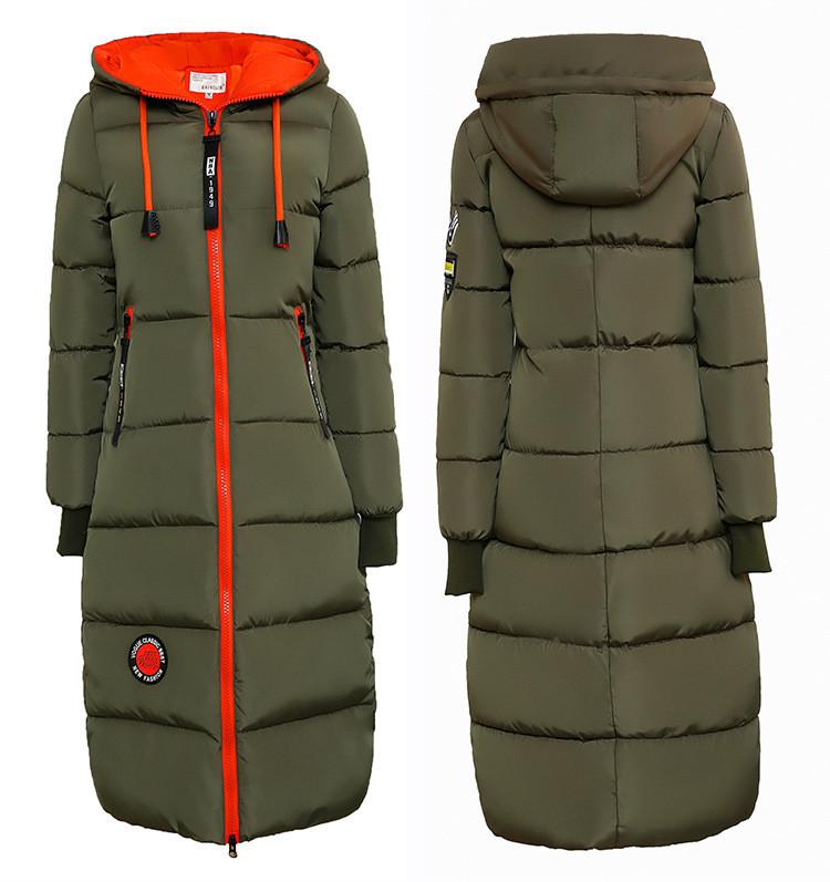 Женское зимнее пальто пуховик парка с вставками.