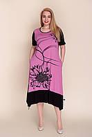 Платье розового цвета большого размера. Лето 2020. Турция. 46\54, 48\56, 50\58. Продажа оптом и в розницу, фото 1