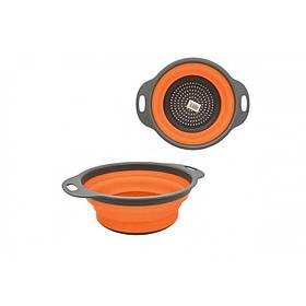 Дуршлаг силиконовый 23.5 х 29.5 см серо-оранжевый MHZ GG05-2